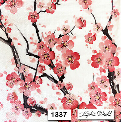 (1337) TWO Individual Paper Luncheon Decoupage Napkins - CHERRY BLOSSOM BRANCHES