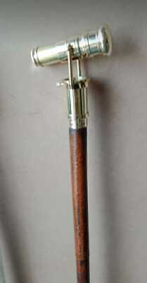 Wooden Walking Stick Brass Telescope Handle Leather Cover Wood Foldable 3 Fold