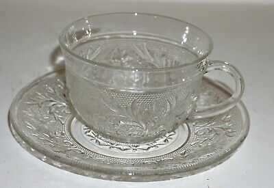 Vintage Anchor Hocking Depression Glass Sandwich Cup and Saucer 5 Available !
