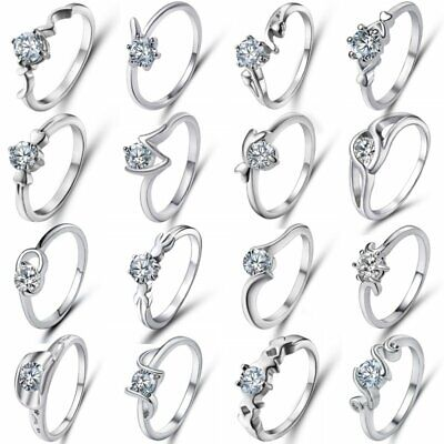 Women Engagement Wedding Ring Crystal Zircon White Gold Plated Rings Jewelry New