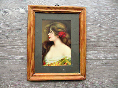Lovely Victorian Edwardian Print Mounted In Pine Frame Antique Beautiful Woman