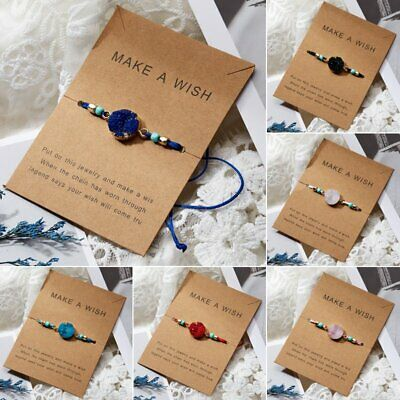 Handmade Make A Wish Natural Stone Braided Bracelet Bangle Women Jewelry Gift