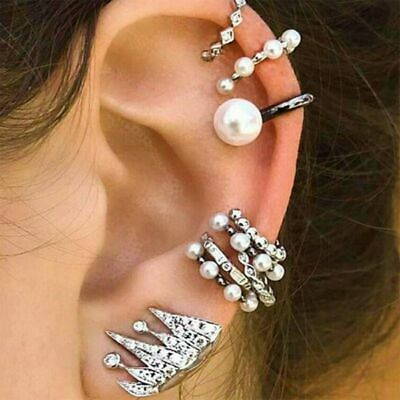 9pc/set Clip-on Pearl Earring Cartilage Crystal Ear Cuff Clip Wrap Non Piercing