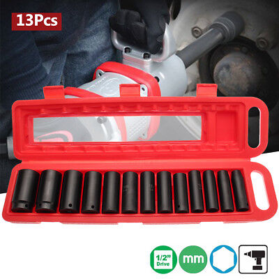 13X 1/2'' Drive Deep Impact 10-32mm Socket Set CR-V Metric Garage Wrench Tool AU