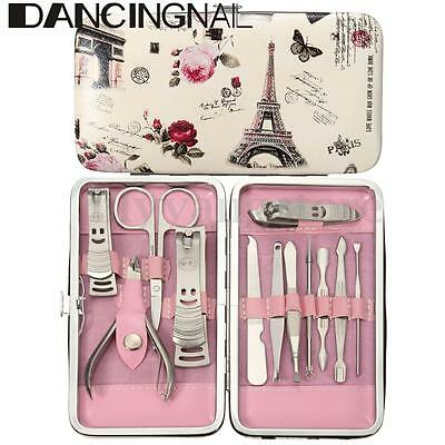 12Pcs/Set Nail Cuticle Clippers Cleaner Grooming Kit Case Pedicure Manicure Tool