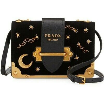 2fe181ce0f58 PRADA CAHIER BOX Patent Leather Shoulder Bag Black -  1