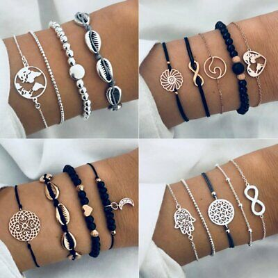 Fashion 4/5 pcs Women Jewelry Set Rope Natural Stone Crystal Chain Bracelets New