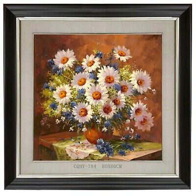 Original Chinese Oil Painting a Vase of Flowers 80x80CM #784