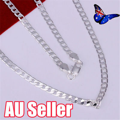 Stunning 925 Sterling Silver Filled 4MM Classic Curb Necklace Chain Wholesale J6