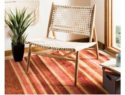 Excellent Bandelier Leather Weave Accent Chair In Off White And Light Uwap Interior Chair Design Uwaporg