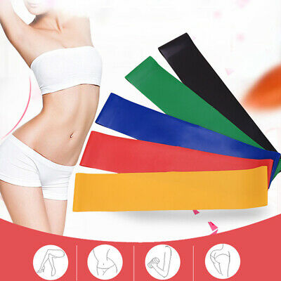 6 Level Resistance Exercise Loop Bands Home Gym Fitness Natural Latex set of 5