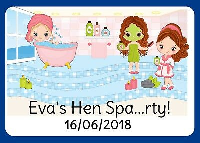 Large  Spa Pamper Hen Weekend Gloss Stickers For Party Favour  Bags Boxes