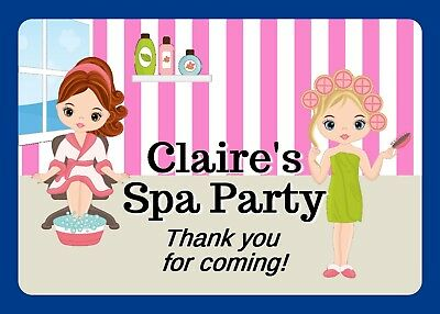 Personalised Pamper Party Spa Hen Weekend Large Gloss Stickers For Party Bags