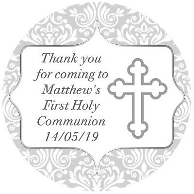 24 Personalised Confirmation, Communion, Baptism ,Stickers,Seals ,Silver,Gloss