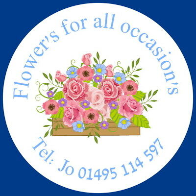 24 Gloss Personalised Label Stickers For Florists,Bouquets, Flower Arranging