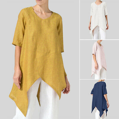 ZANZEA Women Short Sleeve Asymmetric Hem Casual Plain Tops Loose T Shirt Blouse