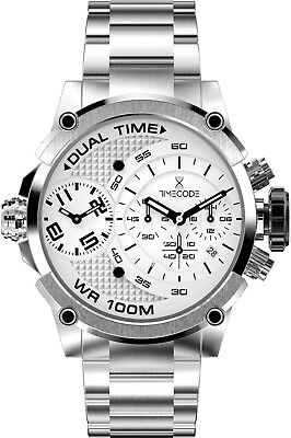 Clearance Sale Timecode Chronograph Tc-1003-02 Dual Time Sapphire Crystal Boxed