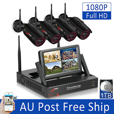 "ANRAN Outdoor Wireless Security System 7""Monitor NVR WiFi 2.0MP CCTV Camera 1TB"