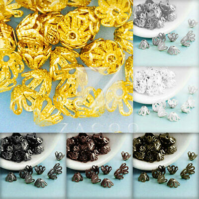 Approx 120Pcs Gold Flower Iron Filigree Bead End Cap Findings Wholesale 4x6x6mm