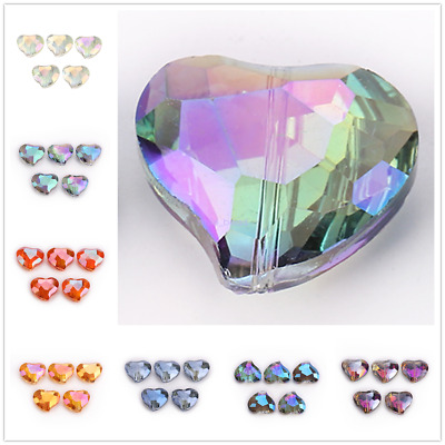 20x16mm Faceted Crystal Heart Glass Loose Spacer Beads Jewelry Making Charms
