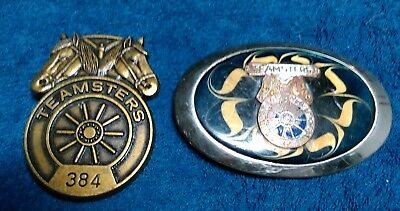 Lot of 2 Vintage Teamsters belt buckles