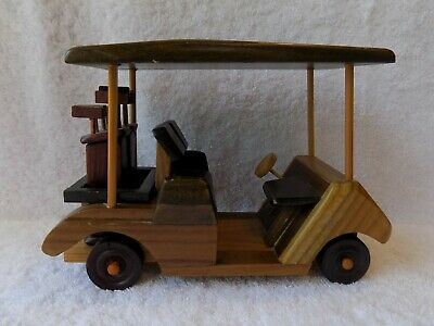 Carved Wood Golf Cart Complete with Golf Bags and Clubs Multi Colored Wood