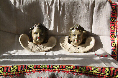 ANGEL Cherub vintage 2 pieces wood Carving Wood Levkas Paint Paired angels 19th
