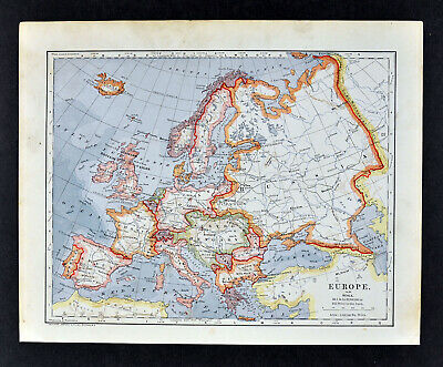 1896 Mathews Northrup Map Europe France Italy Spain Germany Austria Hungary