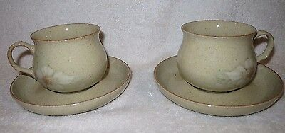 2 X Vintage Denby Daybreak Tea Cups And Saucers Vgc