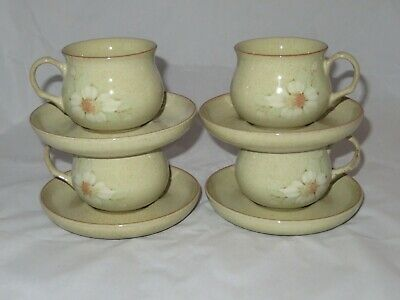 Vintage 4 X Denby Daybreak Tea Cups And Saucers Vgc