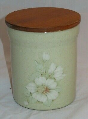 Denby Daybreak Storage Jar ( Tea, Coffee Or Sugar) Vgc - Coloroll Wood Lid