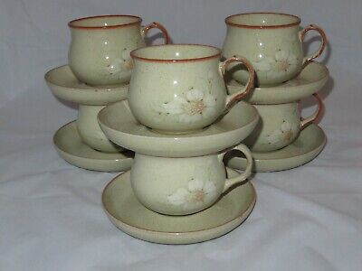 Vintage 6 X Denby Daybreak Tea Cups And Saucers Vgc