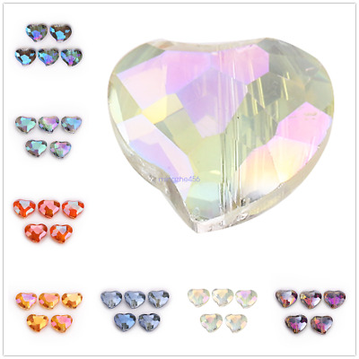 New 20x16mm Faceted Heart Crystal Glass Loose Spacer Beads Jewelry Finding Bead