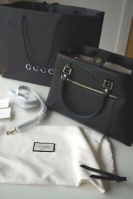 5cfab5004ba AUTHENTIC NEW GUCCI Black Micro Guccissima Leather Bag with shoulder strap  £1400