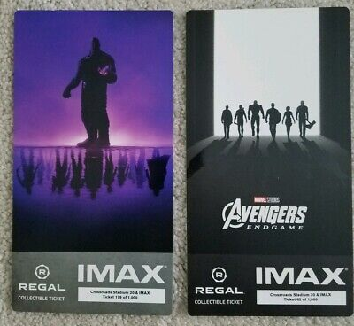 Avengers Endgame Week 1 & 2 IMAX Regal Collectible Tickets, movie theater only