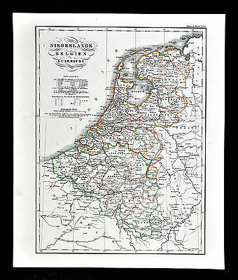 c.1848 Glaser Atlas Map - Netherlands - Holland Belgium Luxembourg Amsterdam