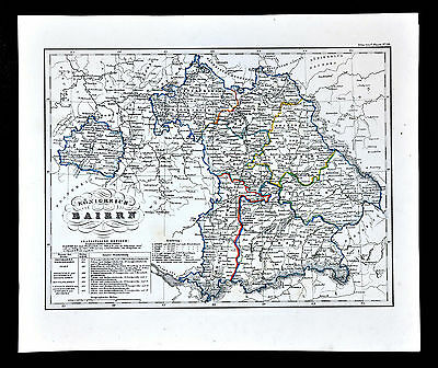 c.1847 Glaser Atlas Map - Baiern - Bavaria Munich Ulm Augsburg Nuremberg Germany