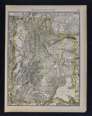 1891 McNally Map Utah - Great Salt Lake City Ogden Logan Provo Brigham Mountains