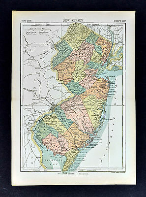 c1889 Encyclopedia Britannica Map - New Jersey - NY City Newark Trenton Atlantic
