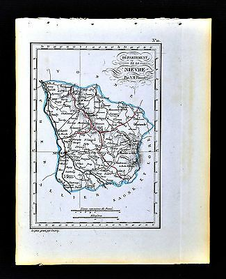 1841 Perrot France Map Departement Nievre Nevers Chateau Chinon Luzy Cosne Donzy