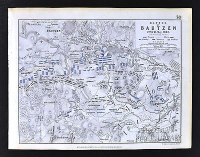 1850 Johnston Military Map - Napoleon - Battle of Bautzen 1813 - Saxony Germany