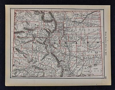 1891 McNally Map - Colorado Denver Boulder Leadville Pueblo Breckenridge Golden