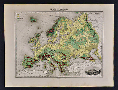 1880 Migeon Map - Physical Europe - Spain France Germany Italy - Vesuvius View