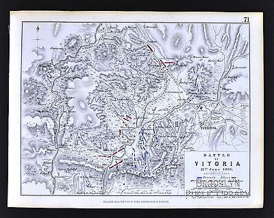 1850 Johnston Military Map Napoleon Battle of Vitoria 1813 Spain Peninsular War