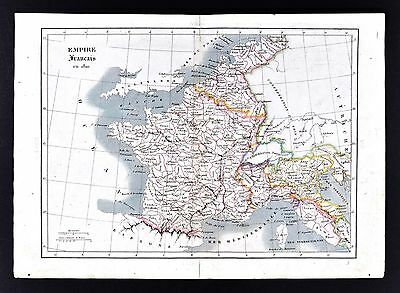 1830 Langlois Atlas Map - French Empire in 1810 - Napoleon France Italy Belgium