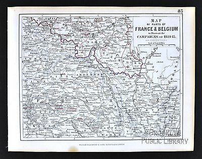 1850 Johnston Military Map - Napoleon France Belgium Campaigns 1814-15 - Paris
