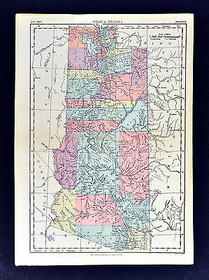 c1889 Encyclopedia Britannica Map - Utah & Arizona - Salt Lake City Prescott USA
