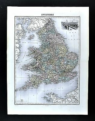 1880 Migeon Map - England & Wales - London Liverpool Bristol Thames Britain UK