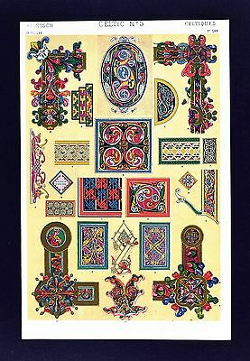 1868 Owen Jones Ornament Print Celtic No 3 - Anglo Saxon Illuminated Manuscripts