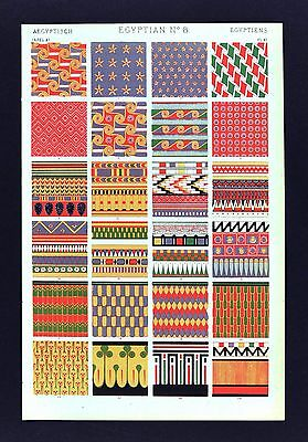 1868 Owen Jones Ornament Print Egyptian No 8 Egypt Painting Tombs Mummy Cases